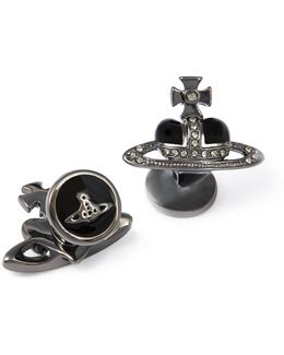 Diamante Black Heart Cufflinks
