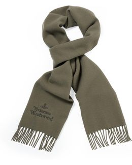 Classic Embroidered Scarf Taupe