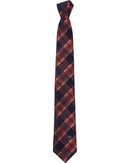 Tartan Orb Tie Copper Blue