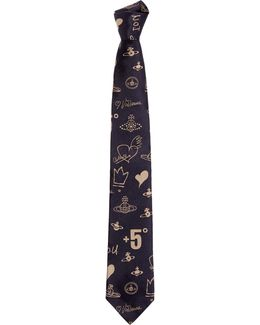 Scribble Sketch Tie Blue/beige