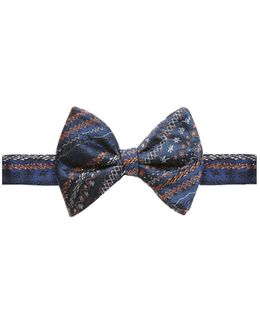 Scribbled Navy Blue Bow Tie