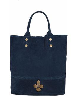 Indigo Suede Tote Bag
