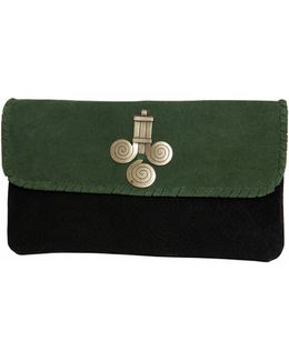 Military Two-tone Suede Clutch