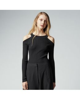 Ribbed Cold Shoulder Jumper