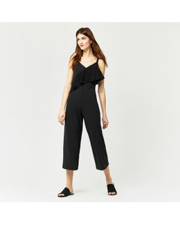Strappy Frill Crepe Jumpsuit
