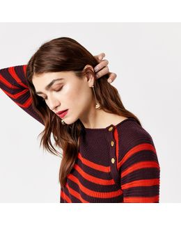 Button Detail Stripe Jumper
