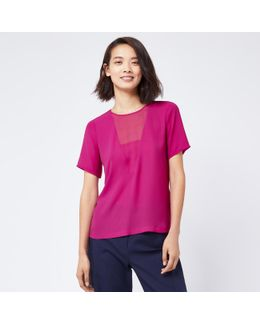 V Detail Woven Mix Tee
