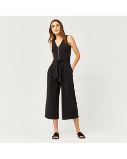 Zip Front Crepe Jumpsuit