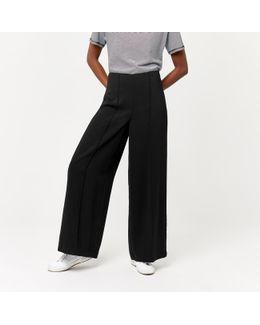 Pintuck Wide Leg Trouser
