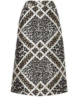 Leopard Trellis Midi Skirt