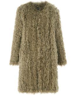 Longline Knit Sheepskin Coat