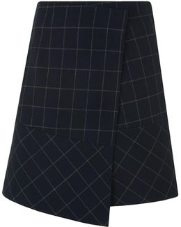 Window Pane Check Amber Skirt