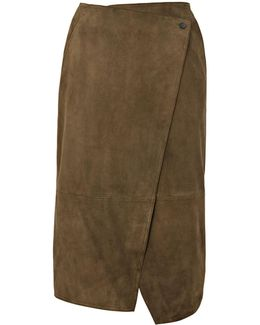 Asymmetric Wrap Suede Skirt