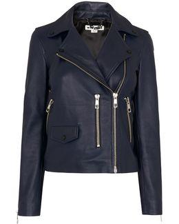Navy Agnes Leather Jacket