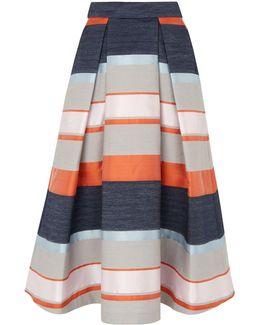 Stripe Jacquard Midi Skirt