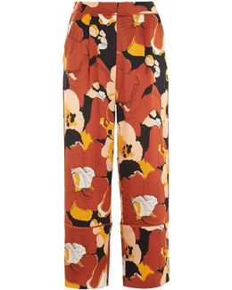 Abstract Floral Satin Trouser