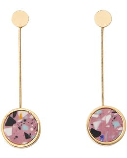 Marbled Stone Circle Earring