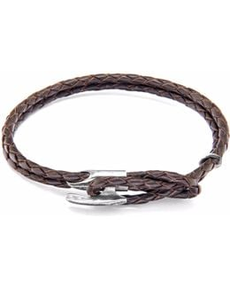 Dark Brown Padstow Silver & Leather Bracelet