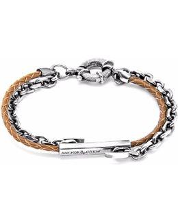 Light Brown Belfast Silver & Leather Bracelet