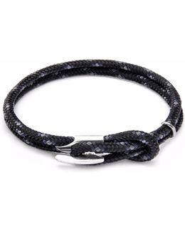 Black Padstow Silver & Rope Bracelet
