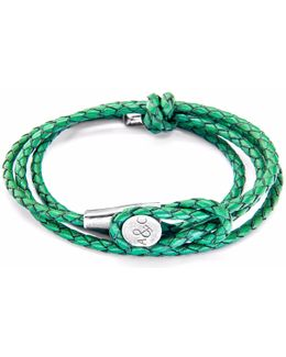 Green Dash Clyde Silver & Rope Bracelet