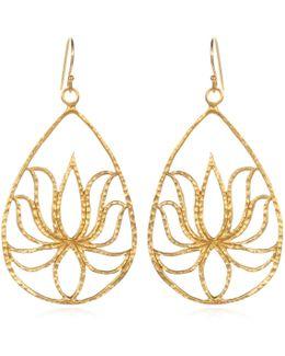 Teardrop Gold Lotus Earrings