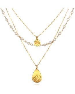 Tree Of Life & Lotus Pearl Triple Chain Necklace