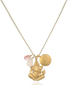 Rose & Cherry Quartz Ganesha Lotus Necklace