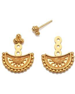 Half Moon Gold Mandala Jacket Earrings
