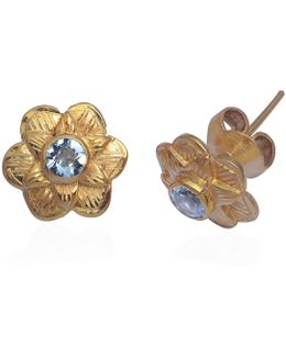 Gypsy Rose Aquamarine Stud Earrings