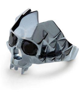 Vampire Skull Ring Black Oxidised Silver