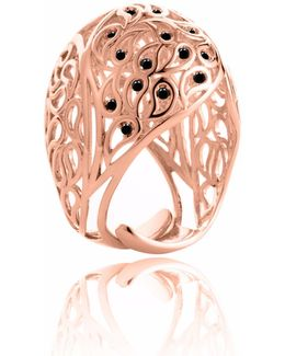 Shikhara Rose Gold Dome Ring Black Spinel