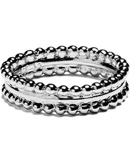 Silver Ring Two Pearls Bands
