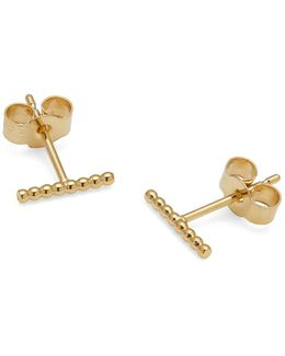 Gold Ball Bar Stud Earrings
