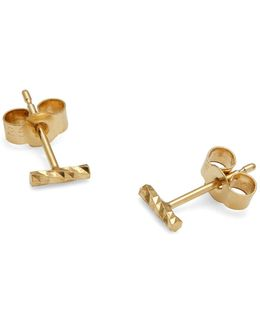 Gold Mini Diamond Bar Stud Earrings
