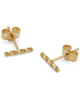 Gold Diamond Bar Stud Earrings