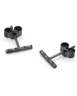 Black Diamond Bar Stud Earrings