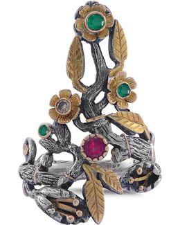 Flora Emerald Ruby & Diamond Ring