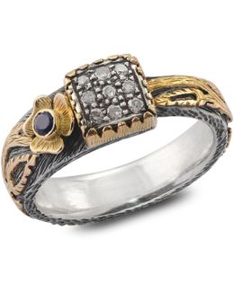 Gardner Diamond & Blue Sapphire Ring