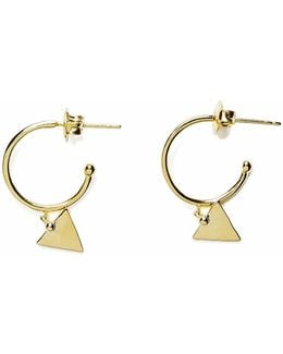 Gold Small Hoop Earrings Triangle