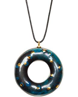 Blue Chameleon Doughnut Pendant Necklace