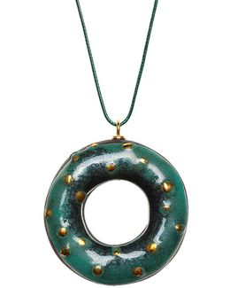 Green Chameleon Doughnut Pendant Necklace