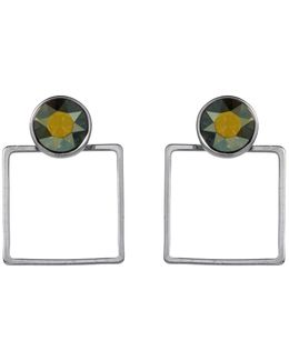 Square Frame Earring Round Stone Iridescent Green