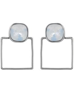 Square Frame Earring Silver White Opal
