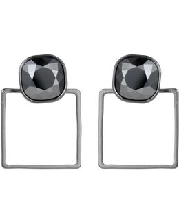 Square Frame Earrings Chrome