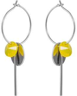 Hoop Cluster Earrings Silver Yellow