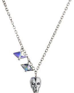Crystal Skull & Double Spike Necklace Chrome