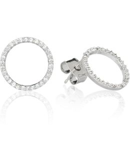 Tuxedo Circle Stud Earrings In Silver