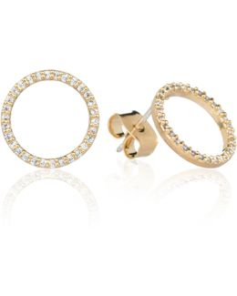 Tuxedo Circle Stud Earrings In Gold
