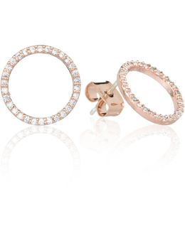 Tuxedo Circle Stud Earrings In Rose Gold